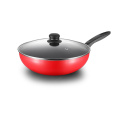 Red Aluminum Press Non-stick Edged Wok Pan