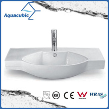 Semi-Recessed Bathroom Ceramic Cabinet Basin Hand Washing Sink (ACB2184)