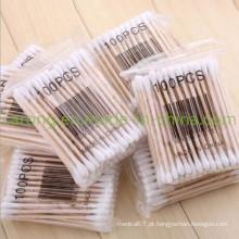 Varas de madeira médicas estéreis descartáveis do cotonete de algodão da segurança