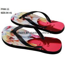 Les plus populaires 3D Impression Casual Flip Flop Slipper Chaussures (FF68-11)