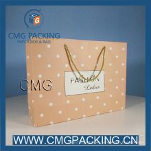 Pink Polka DOT Craft Paper Bag for Ladies Shopping