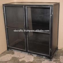 Gabinete de vidro industrial de gabinete de metal vintage