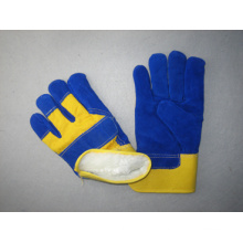 Blue Cow Split Leather Palm Acrylic Lining Winter Glove-3085