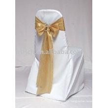 100% poliéster cadeira tampa, tampa da cadeira banquete/hotel, faixa de cetim ouro