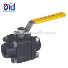 Three Piece Handle 1/2 Inch 3000 Psi Grinding Machine Forged Steel Screw Thread Ball Valve Dimension