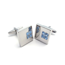 Stainless Steel Square Rhinestone Cuff Links