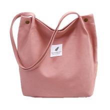 Large Capacity Fashion Canvas Button Eco-Friendly Shopping Canvas Portable Single Shoulder Canvas Bag