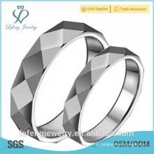 Alta polida, jóias anel inteligente, prata moda banhados anéis de tungstênio