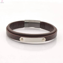 Simple Design Magnetic Clasps Flat Engraving Leather Bracelet For Men