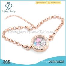 Rose or en acier inoxydable flottant locket charmes bracelet, bracelet en chaîne bijoux