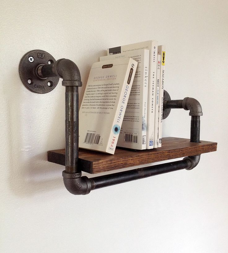 bookcase with pipes