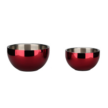 Elegant Red Food Grade Stainless Steel Mixing Bowl