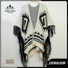Femmes Design spécial Fringe Fur Poncho Sweater