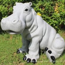 Decoración de la casa moderna escultura de piedra del jardín del hipopótamo