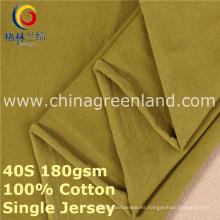 Tela hecha punto jersey de Spandex del algodón solo para la camiseta de la ropa (GLLML378)