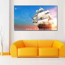 Pintura original do mar e do barco da alta qualidade