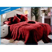6 Stück Red Faux Pelzdecke mit Bettwäsche Set
