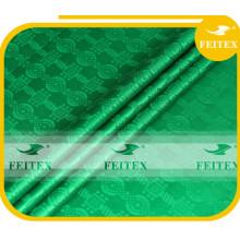 Stock vert damassé tissu guinée brocade douce qualité coton tissus africain bazin en gros