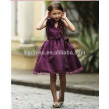 A-Line Tamanho do joelho Zipper Back Purple Vestido de vestido de menina de flor Vestido de festa FGZ36 Girl de 9 anos de idade