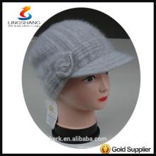 DSC9594 lingshang angora high quality Custom Crocheting Knitted hat lady peaked cap