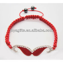 Red Mustache woven shambala bracelet with diamante