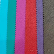 Cuir PVC Litchi Grain avec tissu Blush