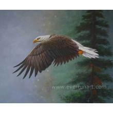Peinture à l'huile d'aigle artisanale à 100%