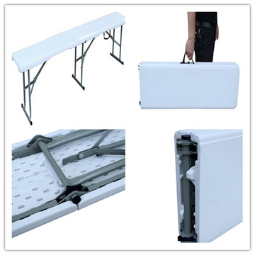 Novo Item 3 Pernas 6FT Não Rollover Blow Molded HDPE Plástico Outdoor Folding Patio Bench (pass TUV teste)