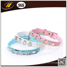 Dog Product Supplier Rhinestone Leather Dog Collar (HJ7006)