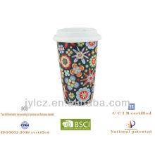 taza de café de cerámica con tapa de silicona