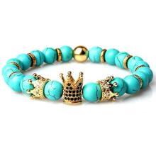 Pulsera de cuentas de corona Imperial de piedras preciosas naturales King Queen Luxury Charm joyería de pareja regalo de Navidad para mujeres y hombres