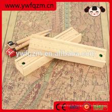 Trousse à crayons en bois personnalisée avec règle en bois