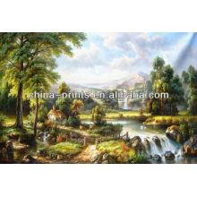 Vente en gros Peinture de paysage peinte à la main de la Nouvelle-Zélande Village