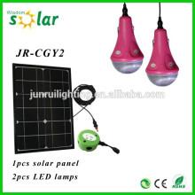 Fabriqué en Chine CE solaire accueil éclairage LED d'éclairage pour intérieur maison avec 2 ampoules