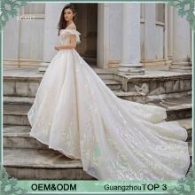 Long watteau train design princess ball gown wedding dresses gowns pink and green lace motifs bride dress