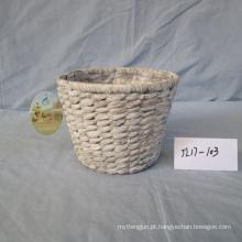 Cesta redonda do jacinto de água branca da lavagem