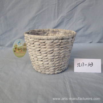 Supply for for Outdoor Flower Pots Round Wash White Water Hyacinth Basket supply to United States Manufacturers