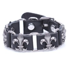 Fashion zinc alloy metal accessories inlay real cow leather wrap bracelet vintage style wholesale/retail