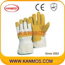 Guantes de trabajo de seguridad industrial de cuero de cerdo amarillo (21003)