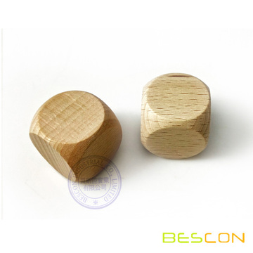 30mm 6 Sides Blank Wooden Dice in Beech Wood