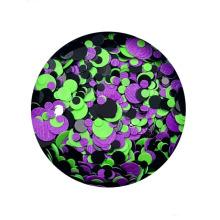 Hot Sale Dots Mixed Chunky Glitter Em Pó Cosméticos Nail Art Círculo Forma Glitter Floco