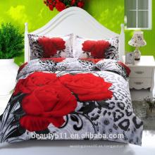 Precio barato Venta al por mayor 4 piezas Ropa de cama impresa edredón cubierta de algodón rey cama hojas