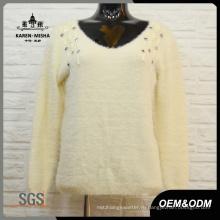 Мода Женщин Белый Шарик V-Образным Вырезом Свитер