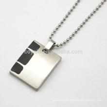 Rechteck Form Blank Edelstahl Herren Halskette mit schwarzem Emaille