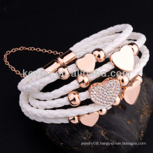 Fashion leather bracelets with magnetic clasp leather bracelet