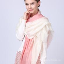 Nouveaux styles de design best-seller personnalisé shemagh châle écharpe en laine rose et blanc à la mode