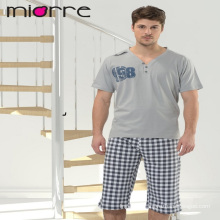 Miorre Men's Sleepwear %100 Cotton Capri Pajamas Set