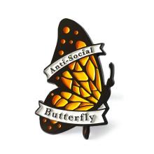 Fashion design custom logo anti-social butterfly lapel pin