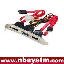 three port SATA to eSATA bracket cable with power port, eSATA expand bracket