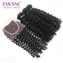 Cheveux bouclés malaisien de la catégorie 7A avec la fermeture